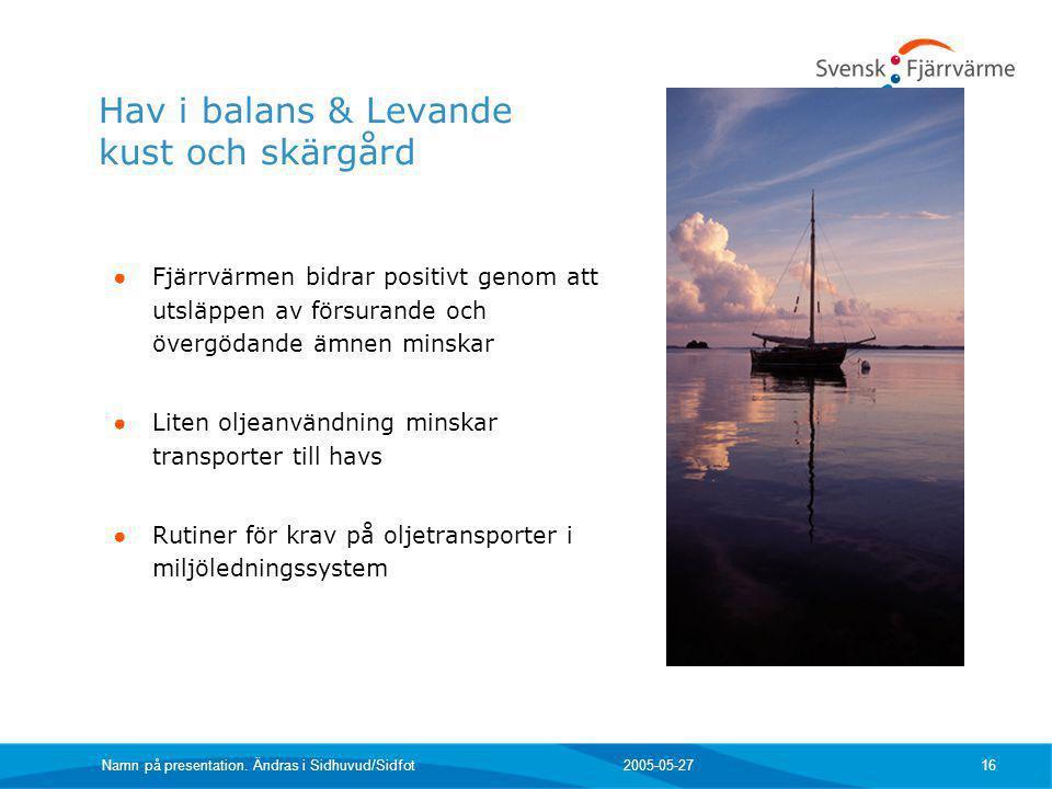 2005-05-27 Namn på presentation. Ändras i Sidhuvud/Sidfot 16 Hav i balans & Levande kust och skärgård ● Fjärrvärmen bidrar positivt genom att utsläppe