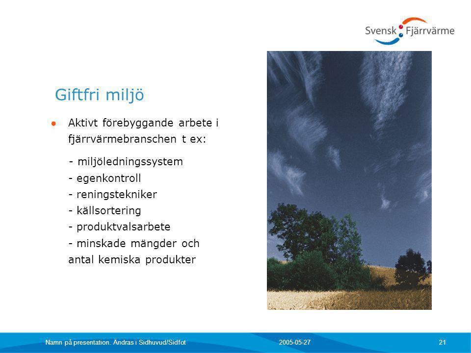 2005-05-27 Namn på presentation. Ändras i Sidhuvud/Sidfot 21 Giftfri miljö ● Aktivt förebyggande arbete i fjärrvärmebranschen t ex: - miljöledningssys