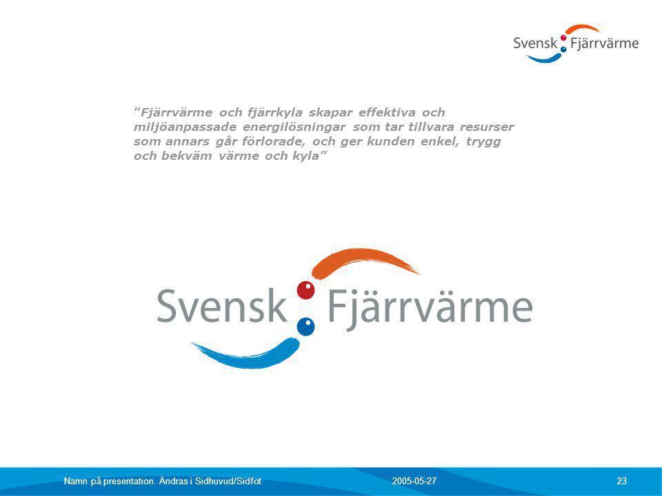 """2005-05-27 Namn på presentation. Ändras i Sidhuvud/Sidfot 23 """"Fjärrvärme och fjärrkyla skapar effektiva och miljöanpassade energilösningar som tar til"""