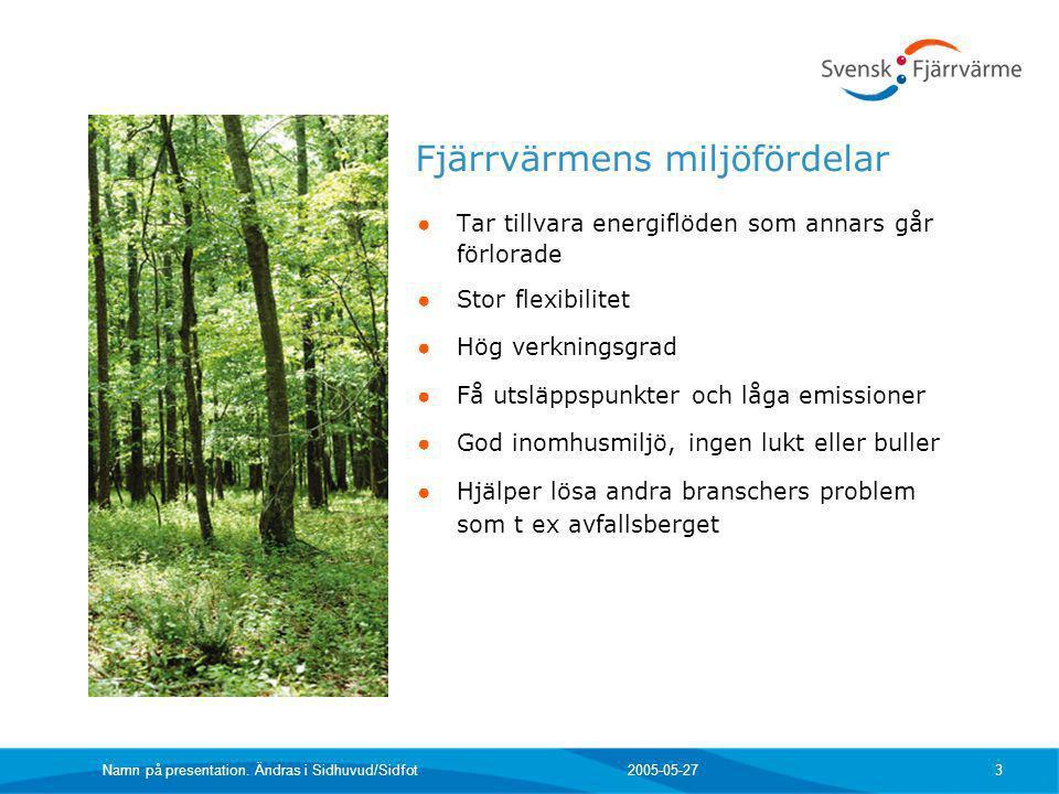 2005-05-27 Namn på presentation. Ändras i Sidhuvud/Sidfot 3 ● Tar tillvara energiflöden som annars går förlorade ● Stor flexibilitet ● Hög verkningsgr