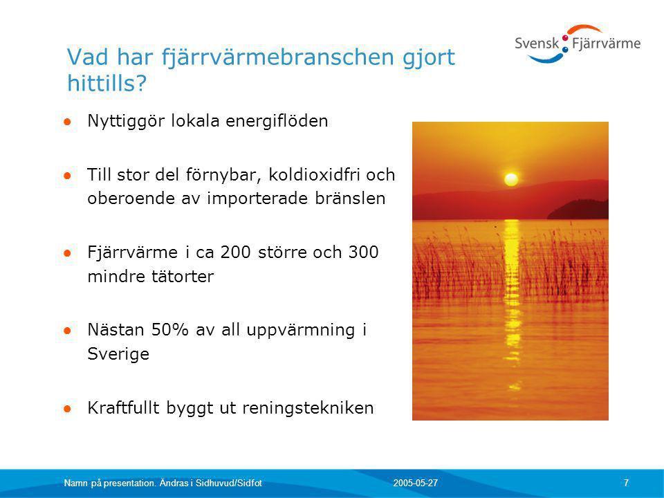 2005-05-27 Namn på presentation. Ändras i Sidhuvud/Sidfot 7 ● Nyttiggör lokala energiflöden ● Till stor del förnybar, koldioxidfri och oberoende av im
