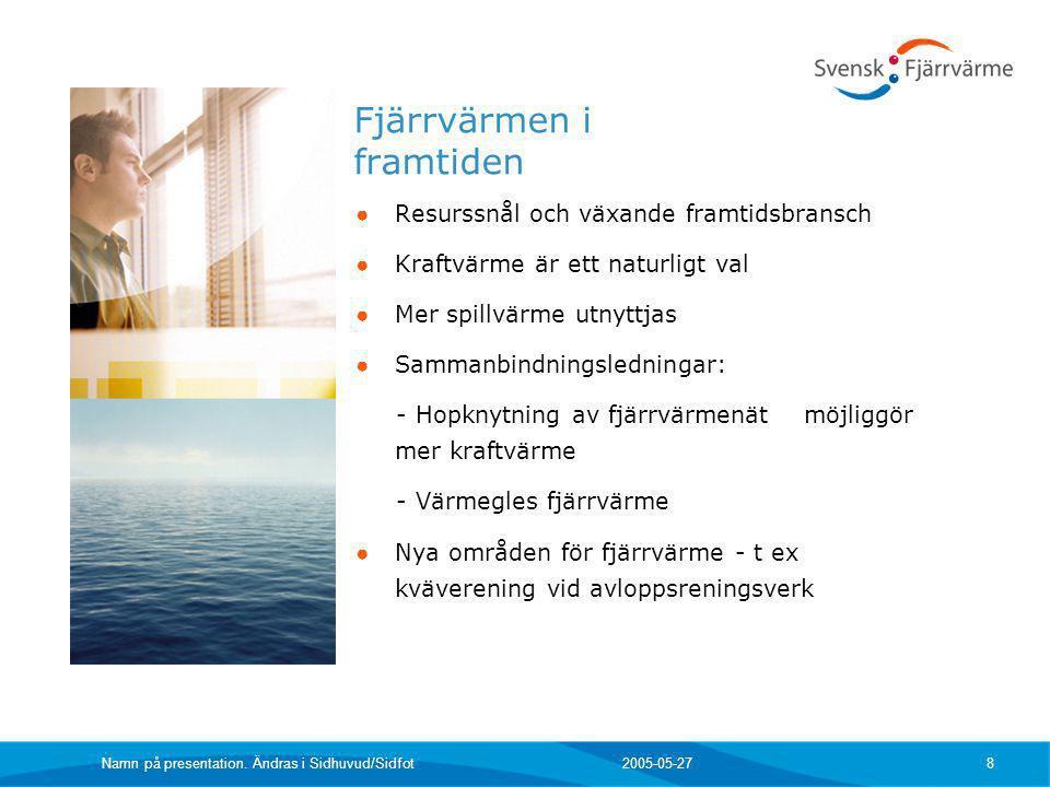 2005-05-27 Namn på presentation. Ändras i Sidhuvud/Sidfot 8 Fjärrvärmen i framtiden ● Resurssnål och växande framtidsbransch ● Kraftvärme är ett natur
