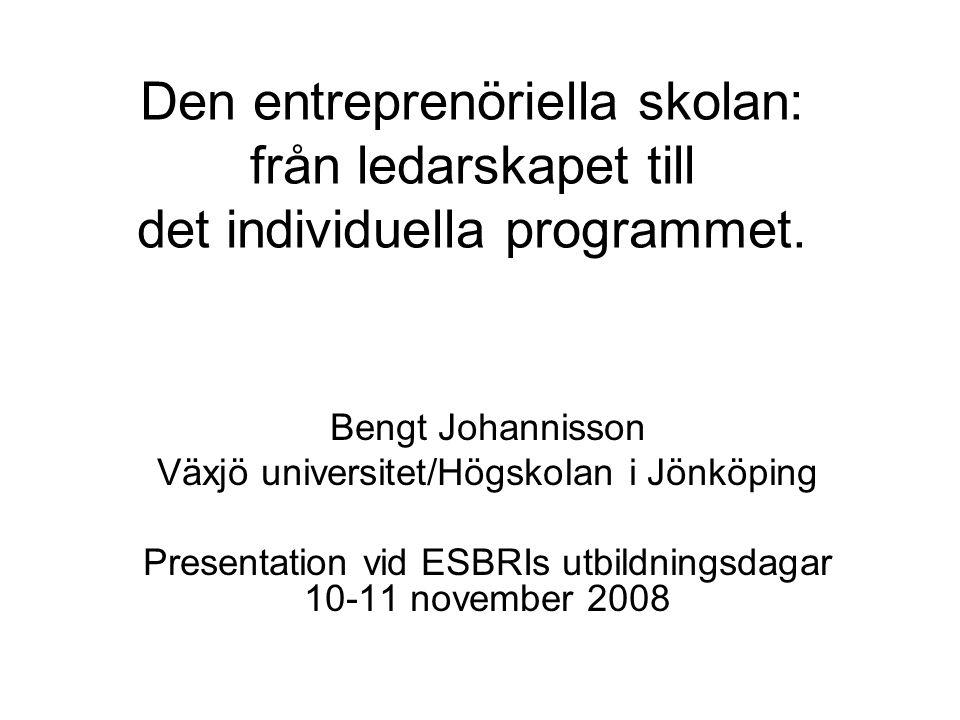Den entreprenöriella skolan: från ledarskapet till det individuella programmet. Bengt Johannisson Växjö universitet/Högskolan i Jönköping Presentation