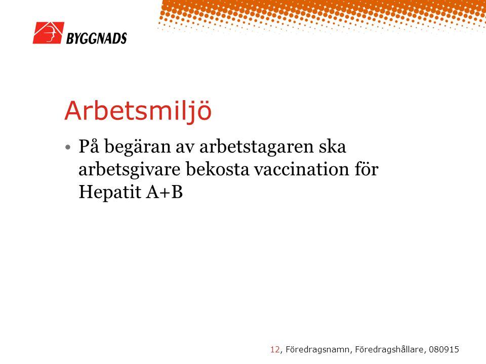 12, Föredragsnamn, Föredragshållare, 080915 Arbetsmiljö •På begäran av arbetstagaren ska arbetsgivare bekosta vaccination för Hepatit A+B