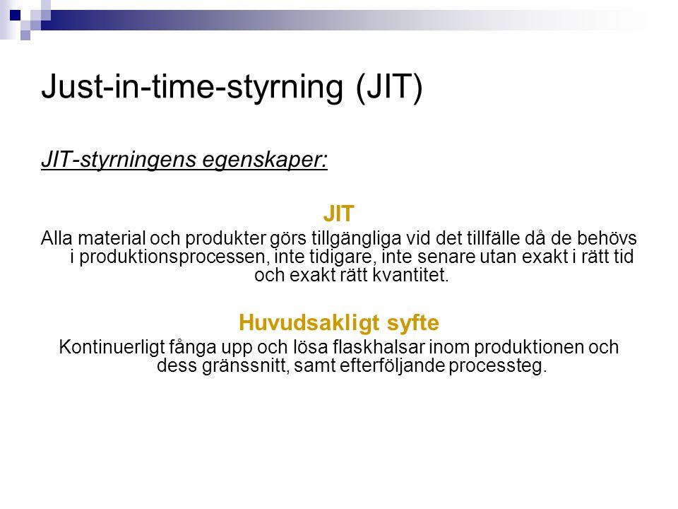Just-in-time-styrning (JIT) JIT-styrningens egenskaper: JIT Alla material och produkter görs tillgängliga vid det tillfälle då de behövs i produktions