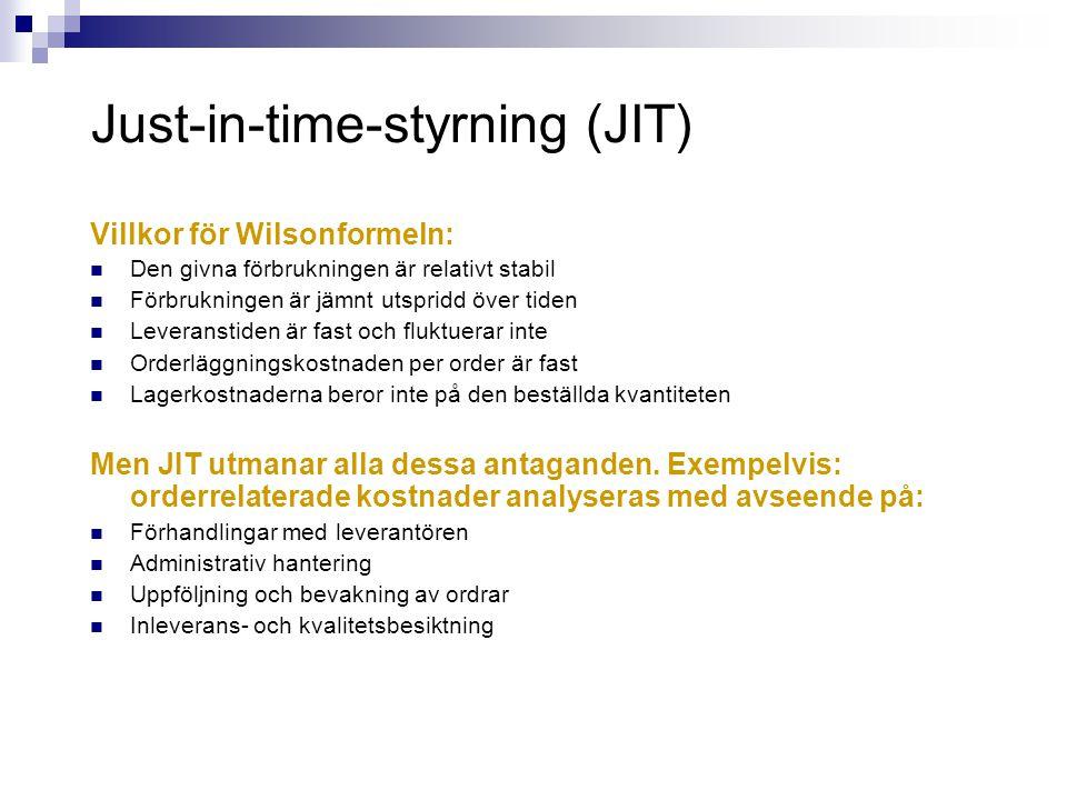 Just-in-time-styrning (JIT) Villkor för Wilsonformeln:  Den givna förbrukningen är relativt stabil  Förbrukningen är jämnt utspridd över tiden  Lev