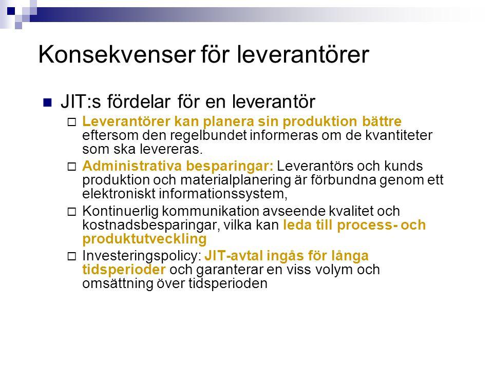Konsekvenser för leverantörer  JIT:s fördelar för en leverantör  Leverantörer kan planera sin produktion bättre eftersom den regelbundet informeras