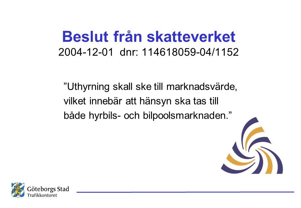 """Beslut från skatteverket 2004-12-01 dnr: 114618059-04/1152 """"Uthyrning skall ske till marknadsvärde, vilket innebär att hänsyn ska tas till både hyrbil"""