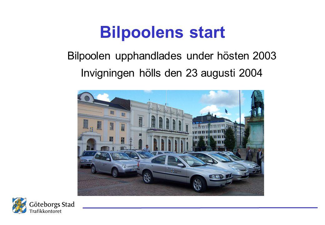Bilpoolens start Bilpoolen upphandlades under hösten 2003 Invigningen hölls den 23 augusti 2004