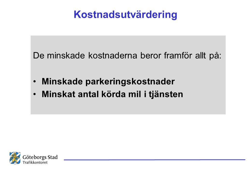 Kostnadsutvärdering De minskade kostnaderna beror framför allt på: •Minskade parkeringskostnader •Minskat antal körda mil i tjänsten