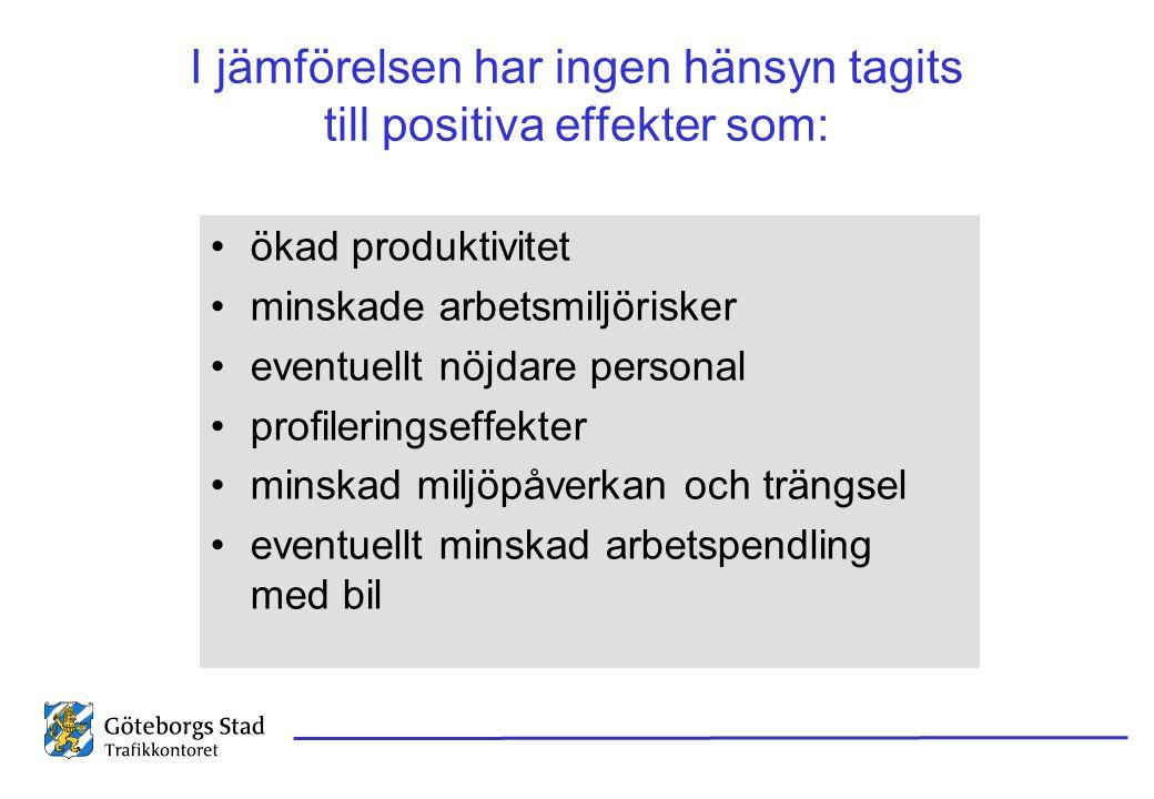I jämförelsen har ingen hänsyn tagits till positiva effekter som: •ökad produktivitet •minskade arbetsmiljörisker •eventuellt nöjdare personal •profil