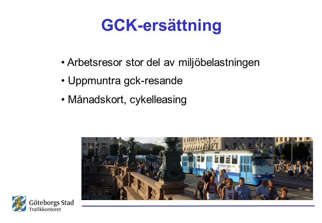 GCK-ersättning • Arbetsresor stor del av miljöbelastningen • Uppmuntra gck-resande • Månadskort, cykelleasing