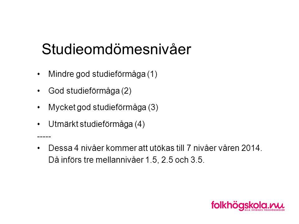 Studieomdömesnivåer •Mindre god studieförmåga (1) •God studieförmåga (2) •Mycket god studieförmåga (3) •Utmärkt studieförmåga (4) ----- •Dessa 4 nivåer kommer att utökas till 7 nivåer våren 2014.