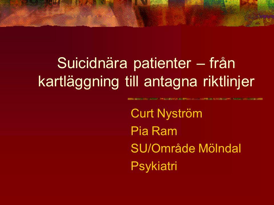 Suicidnära patienter – från kartläggning till antagna riktlinjer Curt Nyström Pia Ram SU/Område Mölndal Psykiatri