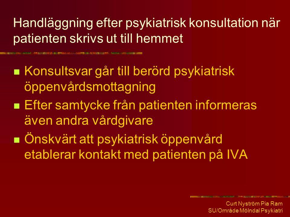 Curt Nyström Pia Ram SU/Område Mölndal Psykiatri Handläggning efter psykiatrisk konsultation när patienten skrivs ut till hemmet  Konsultsvar går til