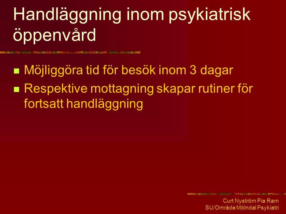 Curt Nyström Pia Ram SU/Område Mölndal Psykiatri Handläggning inom psykiatrisk öppenvård  Möjliggöra tid för besök inom 3 dagar  Respektive mottagni