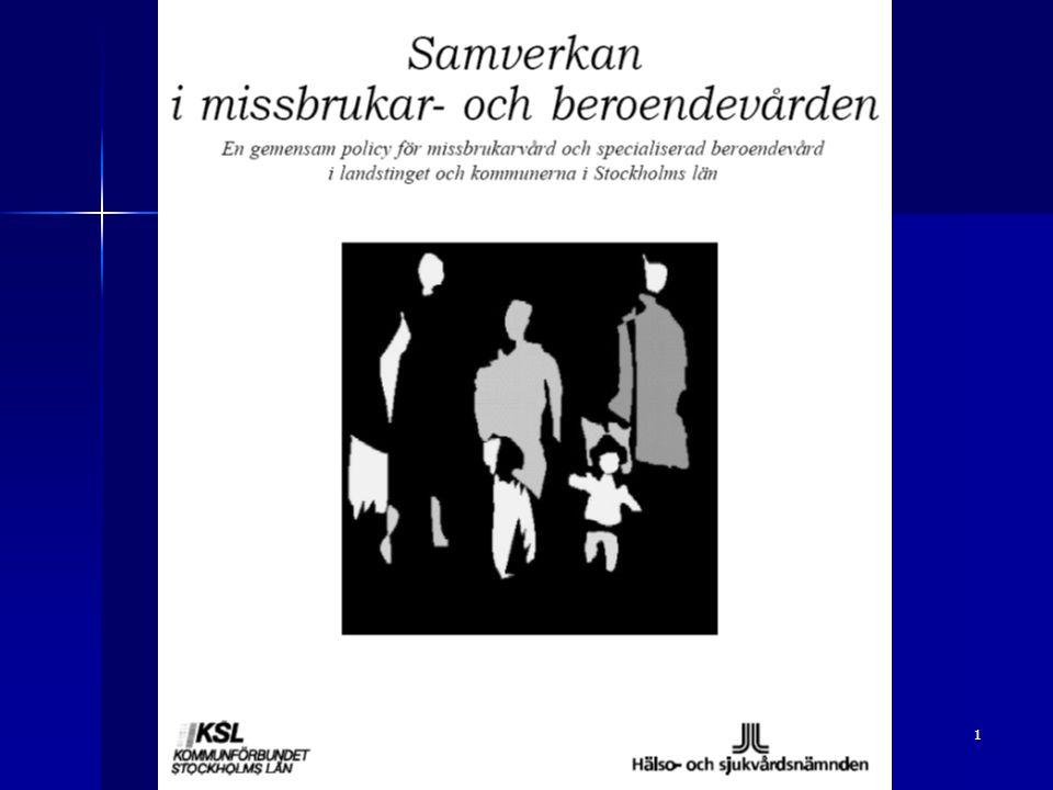 2 Missbruksorganisationer i Stockholm Historik  Missbrukskliniker inom och utom psykiatrin  Olika behandlingstraditioner och personberoende  Sjukvård – socialtjänst på olika håll  Tillnyktring – avgiftning – behandling – uppföljning – olika vårdverksamheter i olika enheter och organisationer  Ca ¾ av resurserna utgjordes av slutenvård  Flera utredningar genomfördes under 1990-talet för att se över effekterna av tidigare satsningar