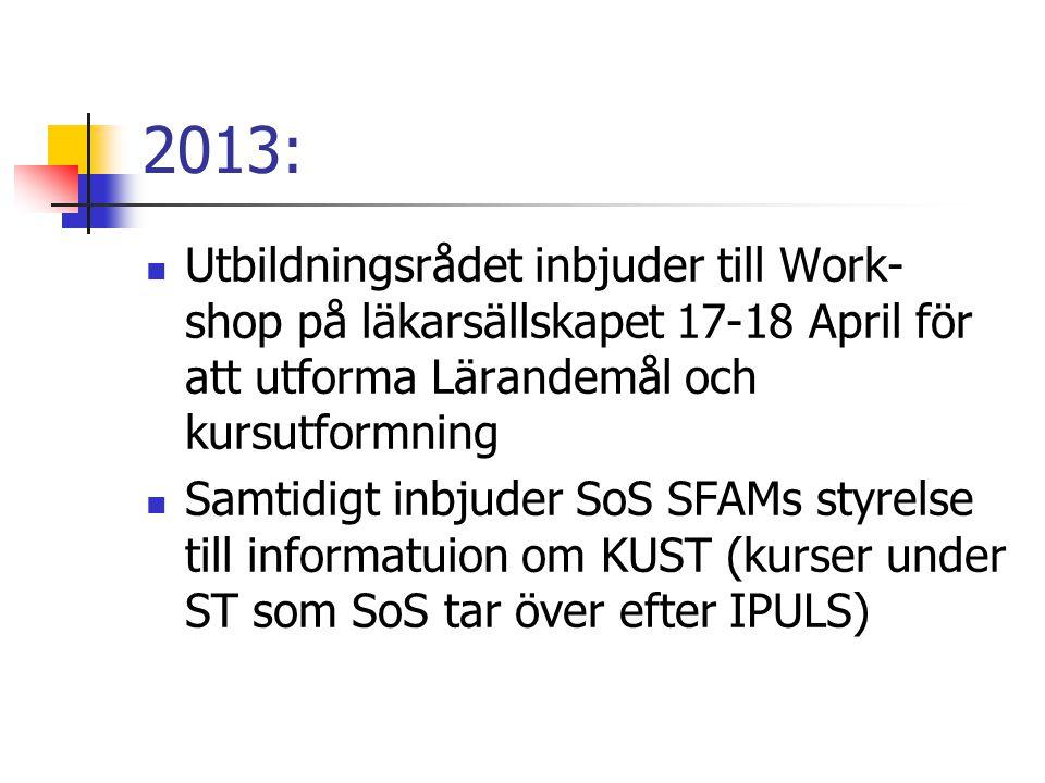 2013:  Utbildningsrådet inbjuder till Work- shop på läkarsällskapet 17-18 April för att utforma Lärandemål och kursutformning  Samtidigt inbjuder So