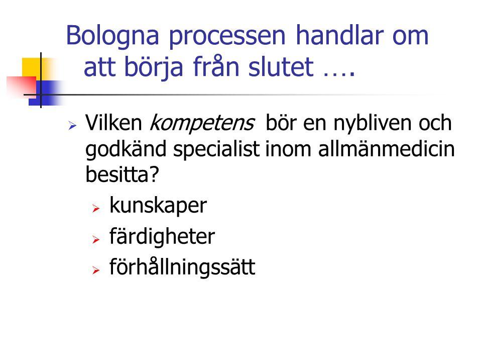 Bologna processen handlar om att börja från slutet ….  Vilken kompetens bör en nybliven och godkänd specialist inom allmänmedicin besitta?  kunskape
