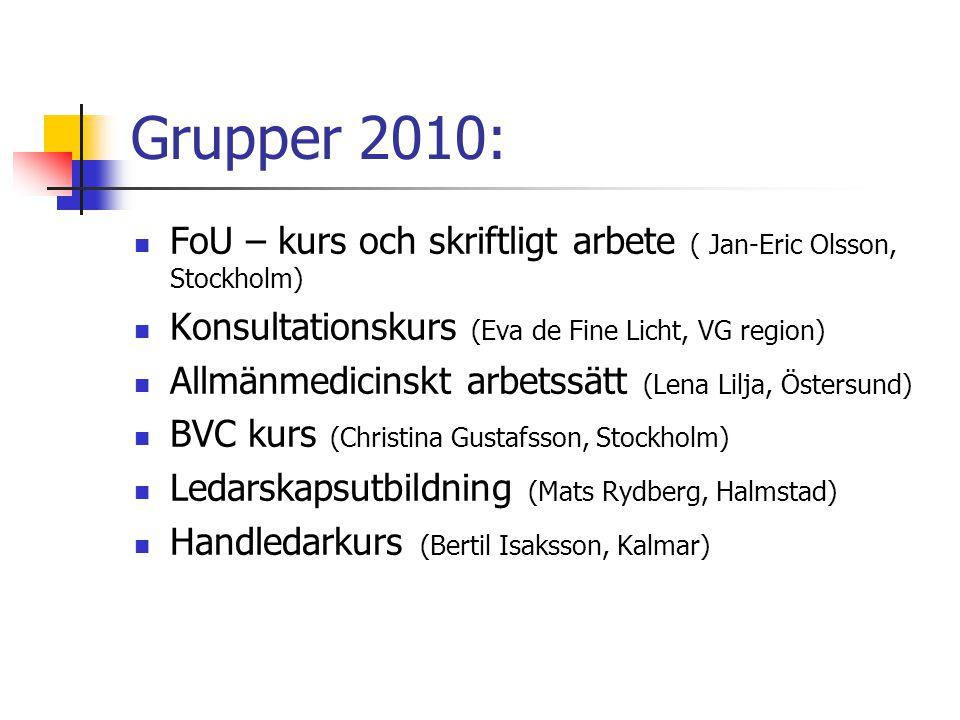 Grupper 2010:  FoU – kurs och skriftligt arbete ( Jan-Eric Olsson, Stockholm)  Konsultationskurs (Eva de Fine Licht, VG region)  Allmänmedicinskt a