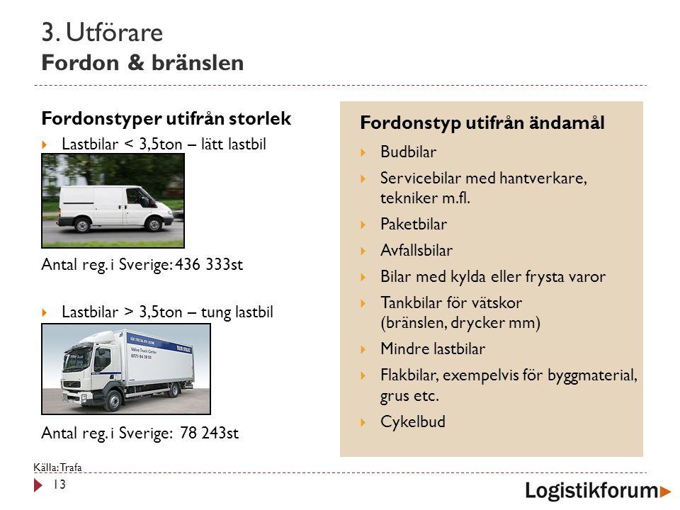 3. Utförare Fordon & bränslen 13 Fordonstyper utifrån storlek  Lastbilar < 3,5ton – lätt lastbil Antal reg. i Sverige: 436 333st  Lastbilar > 3,5ton