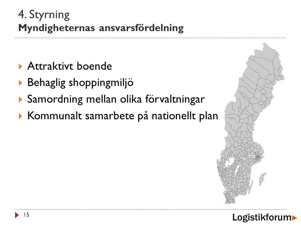 4. Styrning Myndigheternas ansvarsfördelning 15  Attraktivt boende  Behaglig shoppingmiljö  Samordning mellan olika förvaltningar  Kommunalt samar