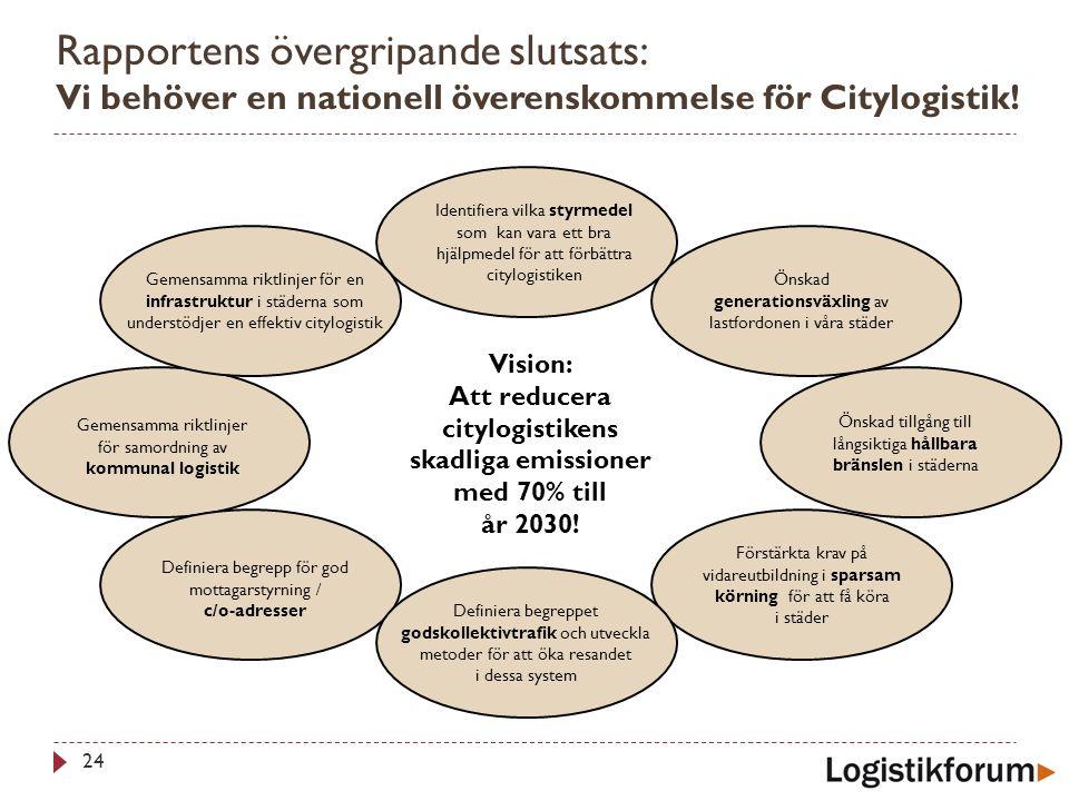 Rapportens övergripande slutsats: Vi behöver en nationell överenskommelse för Citylogistik! 24 Vision: Att reducera citylogistikens skadliga emissione