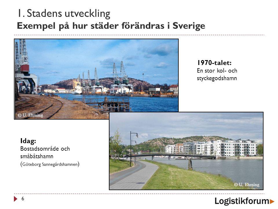 1. Stadens utveckling Exempel på hur städer förändras i Sverige 6 © U. Ehrning Idag: Bostadsområde och småbåtshamn ( Göteborg Sannegårdshamnen ) © U.