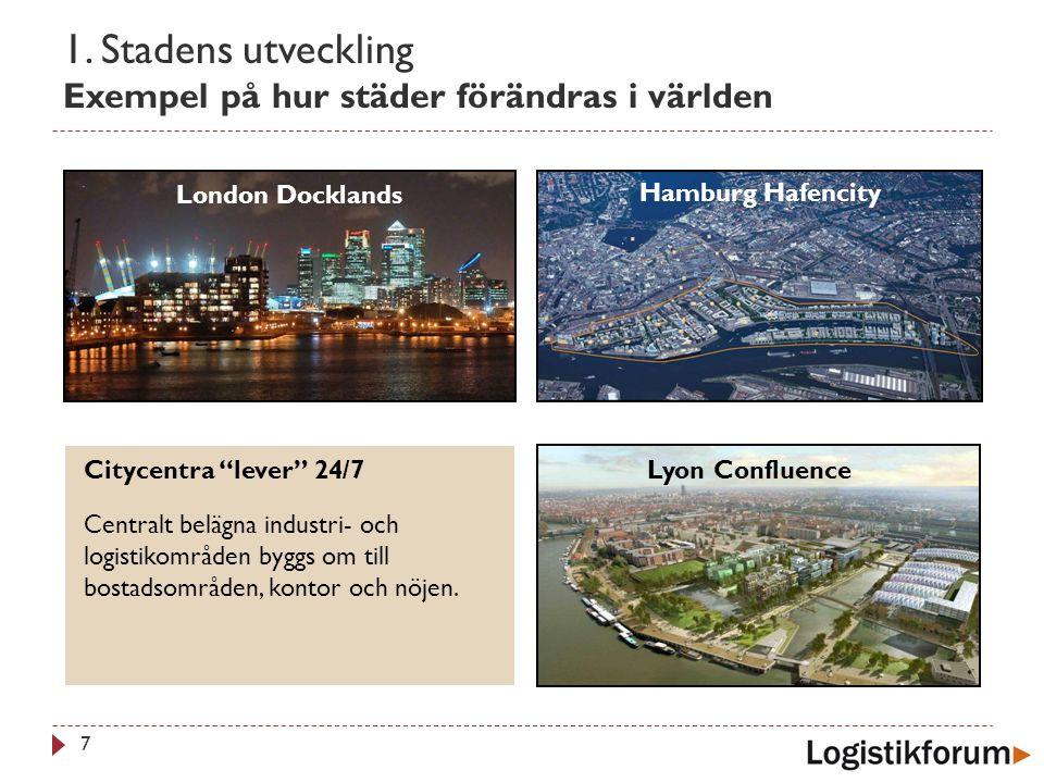 """1. Stadens utveckling Exempel på hur städer förändras i världen 7 Citycentra """"lever"""" 24/7 Centralt belägna industri- och logistikområden byggs om till"""