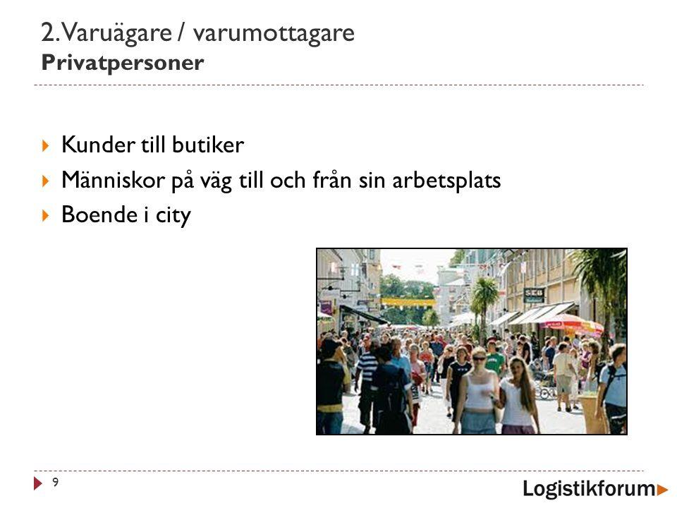 2. Varuägare / varumottagare Privatpersoner 9  Kunder till butiker  Människor på väg till och från sin arbetsplats  Boende i city