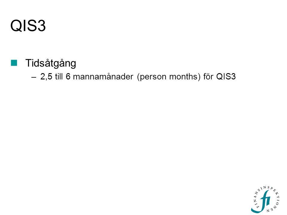 QIS3  Tidsåtgång –2,5 till 6 mannamånader (person months) för QIS3