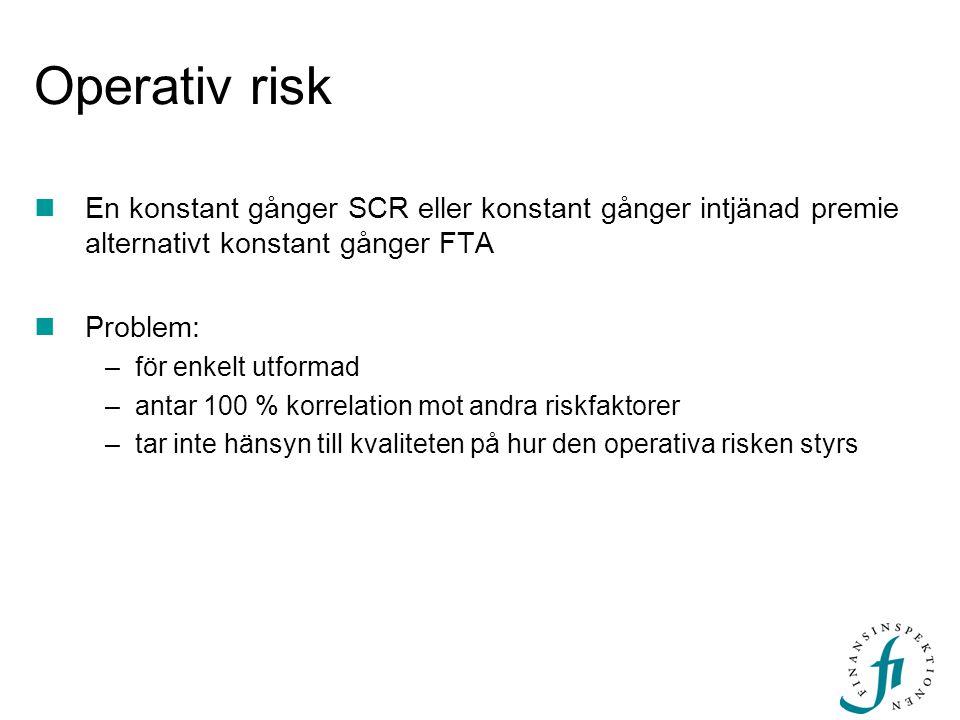 Operativ risk  En konstant gånger SCR eller konstant gånger intjänad premie alternativt konstant gånger FTA  Problem: –för enkelt utformad –antar 10