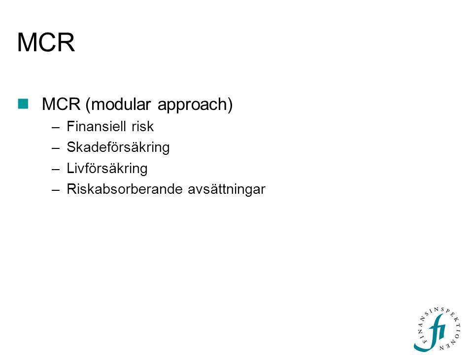 MCR  MCR (modular approach) –Finansiell risk –Skadeförsäkring –Livförsäkring –Riskabsorberande avsättningar