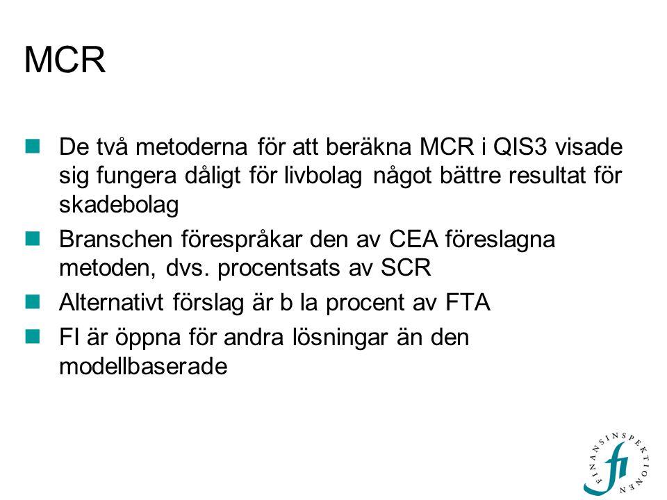  De två metoderna för att beräkna MCR i QIS3 visade sig fungera dåligt för livbolag något bättre resultat för skadebolag  Branschen förespråkar den