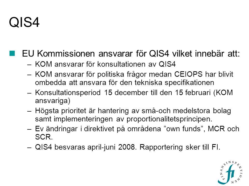 QIS4  EU Kommissionen ansvarar för QIS4 vilket innebär att: –KOM ansvarar för konsultationen av QIS4 –KOM ansvarar för politiska frågor medan CEIOPS