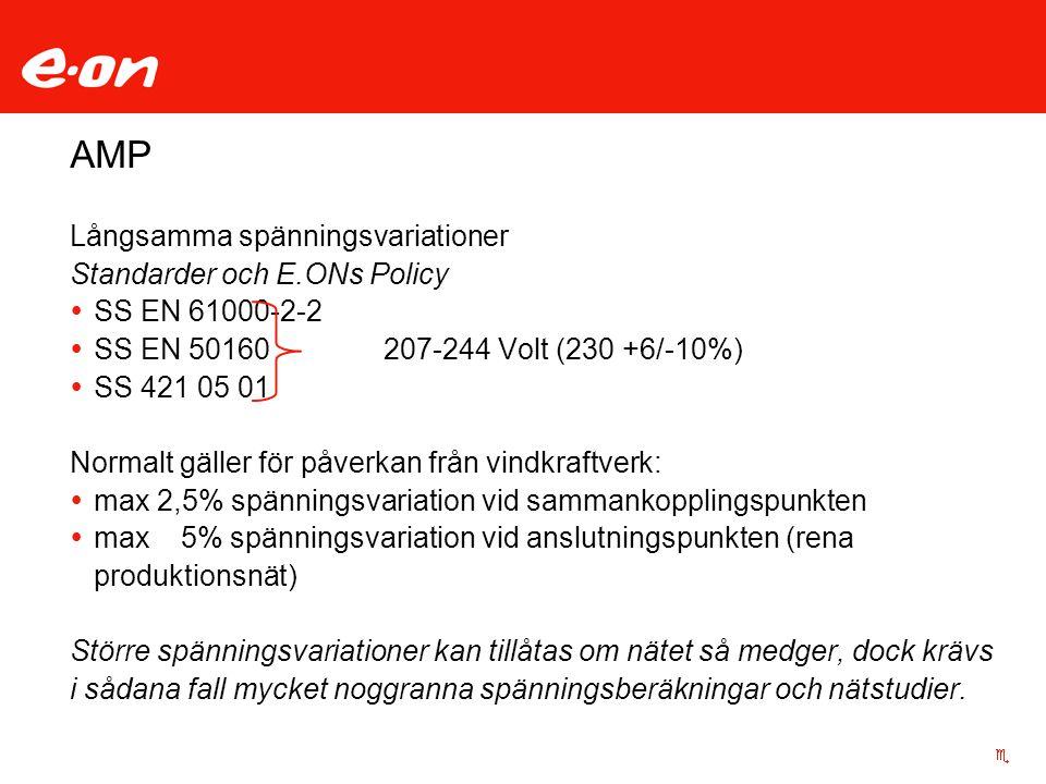 AMP Långsamma spänningsvariationer Standarder och E.ONs Policy  SS EN 61000-2-2  SS EN 50160207-244 Volt (230 +6/-10%)  SS 421 05 01 Normalt gäller