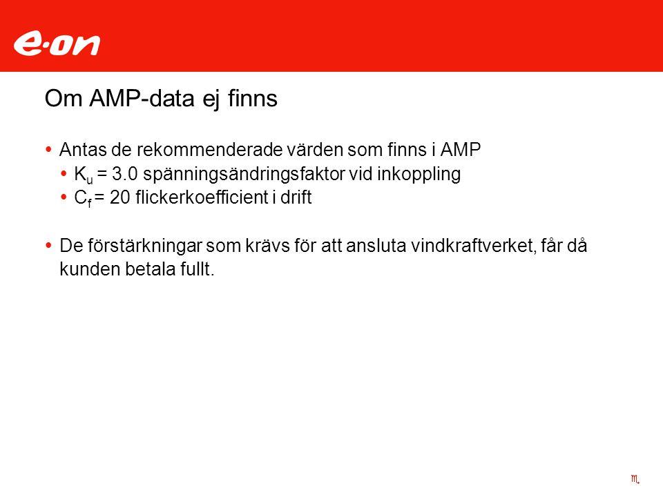 Om AMP-data ej finns  Antas de rekommenderade värden som finns i AMP  K u = 3.0 spänningsändringsfaktor vid inkoppling  C f = 20 flickerkoefficient