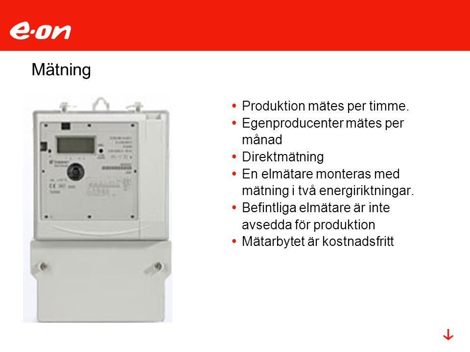Mätning  Produktion mätes per timme.  Egenproducenter mätes per månad  Direktmätning  En elmätare monteras med mätning i två energiriktningar.  B