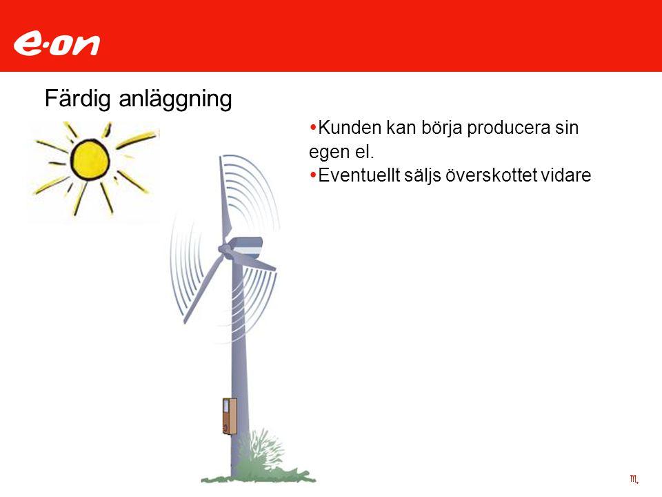 Färdig anläggning  Kunden kan börja producera sin egen el.  Eventuellt säljs överskottet vidare
