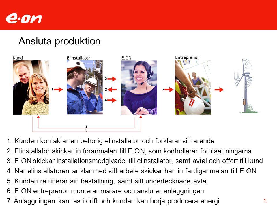 Ansluta produktion 1. Kunden kontaktar en behörig elinstallatör och förklarar sitt ärende 2. Elinstallatör skickar in föranmälan till E.ON, som kontro