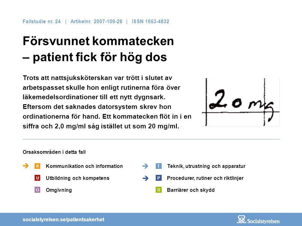 socialstyrelsen.se/patientsakerhet Fallstudie nr. 24 | Artikelnr. 2007-109-28 | ISSN 1653-4832 Försvunnet kommatecken – patient fick för hög dos Kommu
