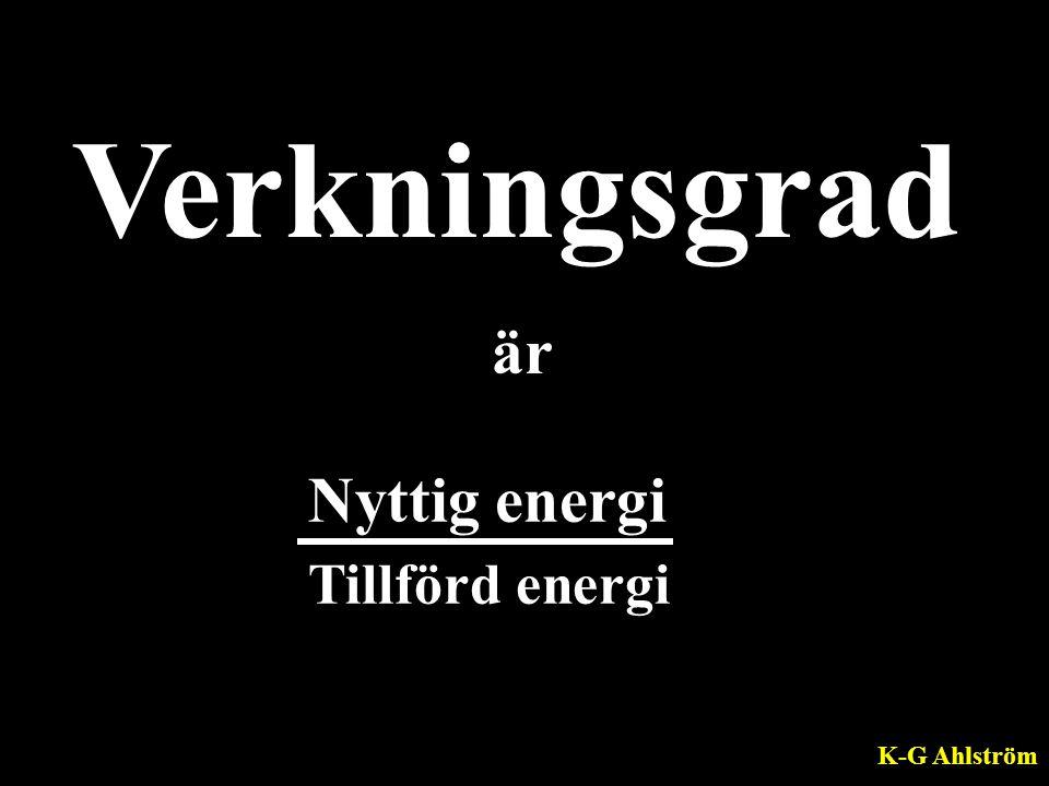 Verkningsgrad är Nyttig energi Tillförd energi K-G Ahlström