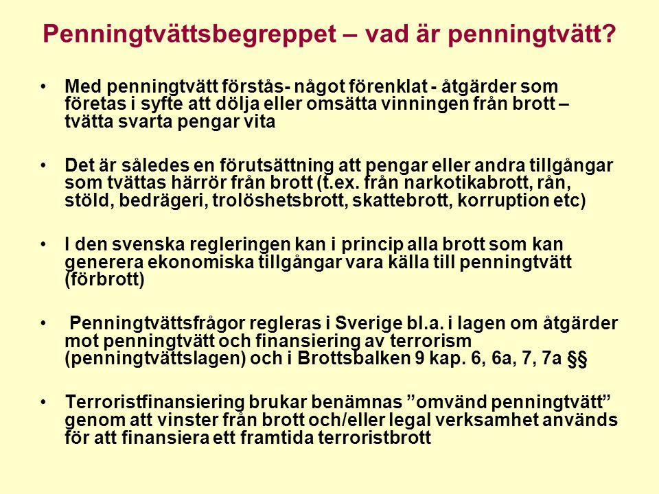 Utfört brott Ekonomiskt utbyte från brott Ekonomiskt utbyte från brott Penningtvätt Finansiering av terrorism Legala medel TILLGÅNGAR/MEDELPENNINGTVÄTT TERRORISTFINANSIERING FÖRBROTT
