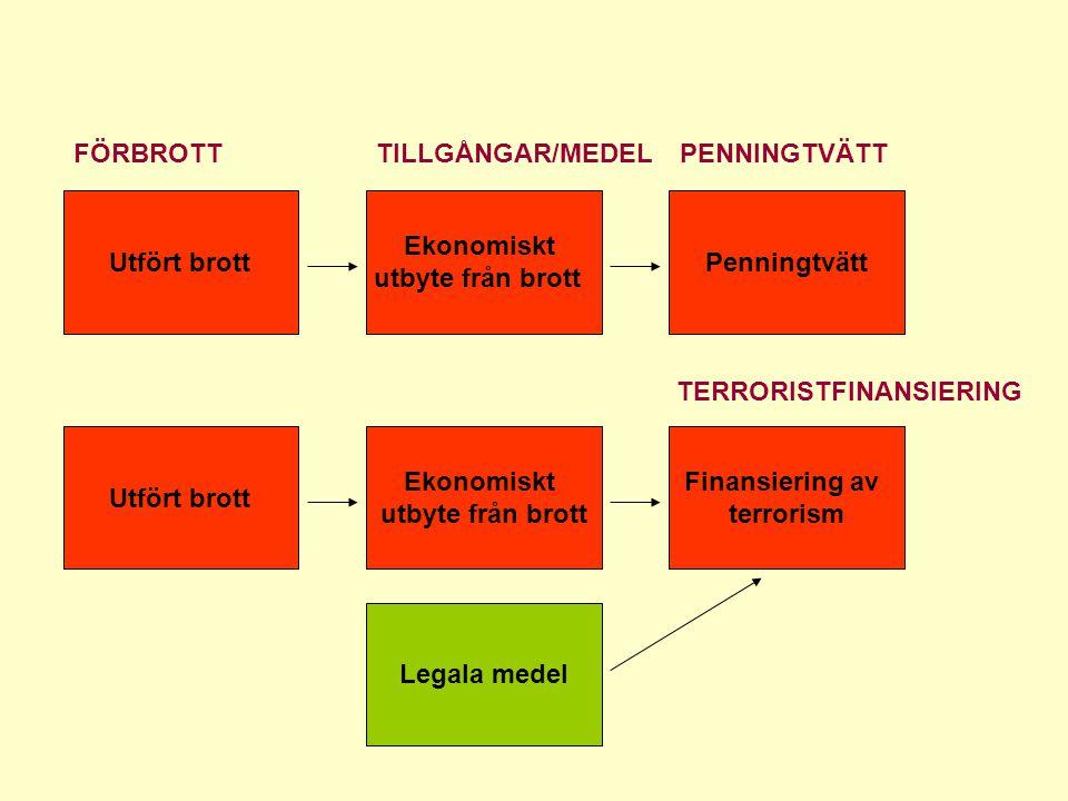 Utfört brott Ekonomiskt utbyte från brott Ekonomiskt utbyte från brott Penningtvätt Finansiering av terrorism Legala medel TILLGÅNGAR/MEDELPENNINGTVÄT