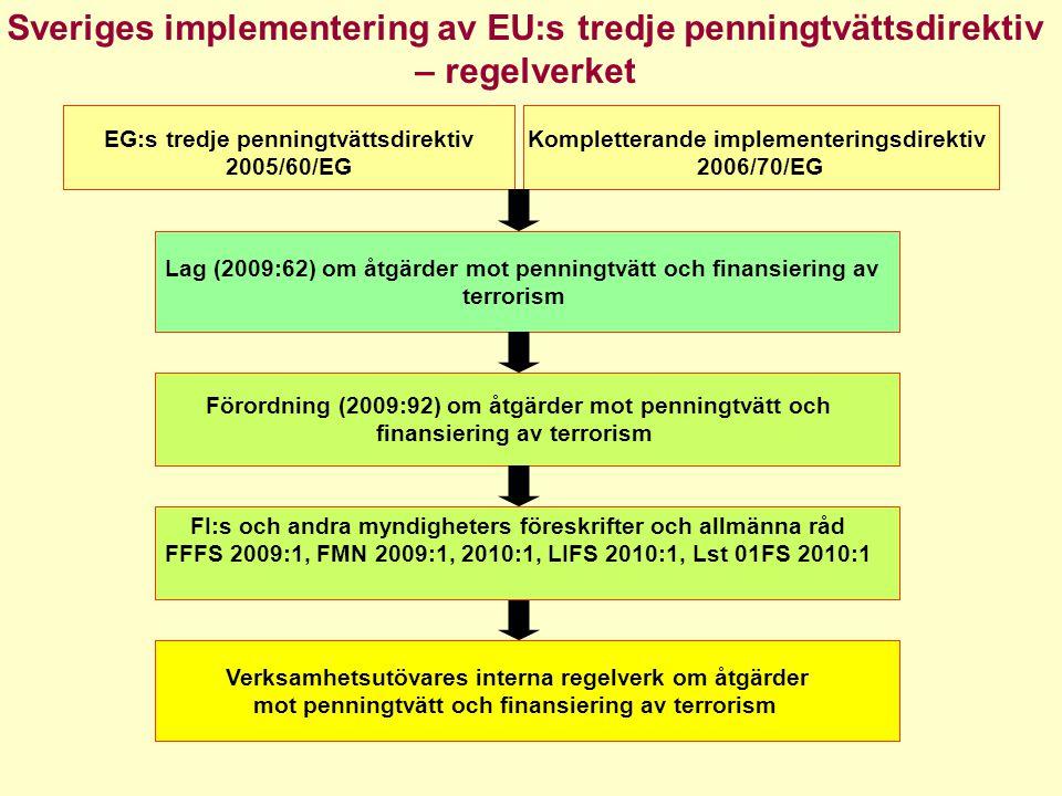 Andra relevanta regelverk- urval •Lag om straff för finansiering av särskilt allvarlig brottslighet i vissa fall •Aktiebolagslagens regler om revisors åtgärder vid misstanke om brott •Lag om tillämpning av Europaparlamentets och rådets förordning nr 1781/2006 om information om betalaren som skall åtfölja överföringar av medel •EG Förordning 1781/2006 om information som skall åtfölja betalningar •EU:s Förordningar om riktade sanktioner (terroristlistor) •FATF:s 40 + 9 rekommendationer