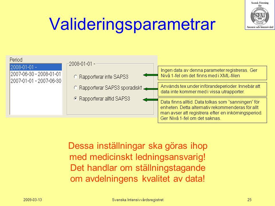 2009-03-13Svenska Intensivvårdsregistret25 Valideringsparametrar Används tex under införandeperioder. Innebär att data inte kommer med i vissa utrappo
