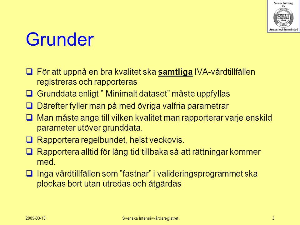 2009-03-13Svenska Intensivvårdsregistret3 Grunder  För att uppnå en bra kvalitet ska samtliga IVA-vårdtillfällen registreras och rapporteras  Grundd