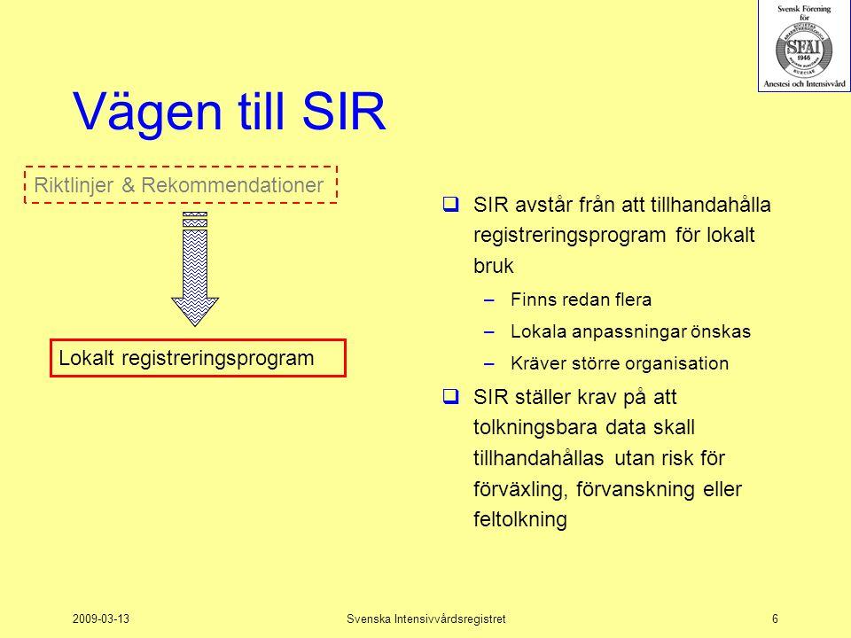 2009-03-13Svenska Intensivvårdsregistret6 Vägen till SIR  SIR avstår från att tillhandahålla registreringsprogram för lokalt bruk –Finns redan flera