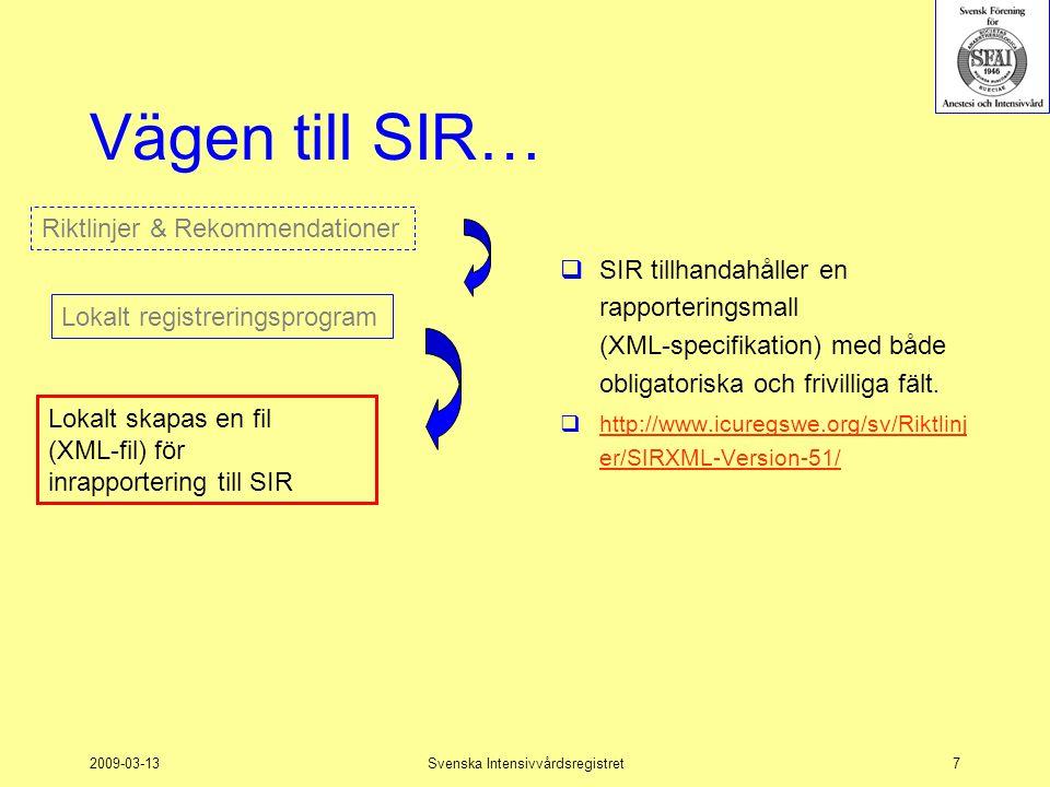 2009-03-13Svenska Intensivvårdsregistret7 Vägen till SIR…  SIR tillhandahåller en rapporteringsmall (XML-specifikation) med både obligatoriska och fr