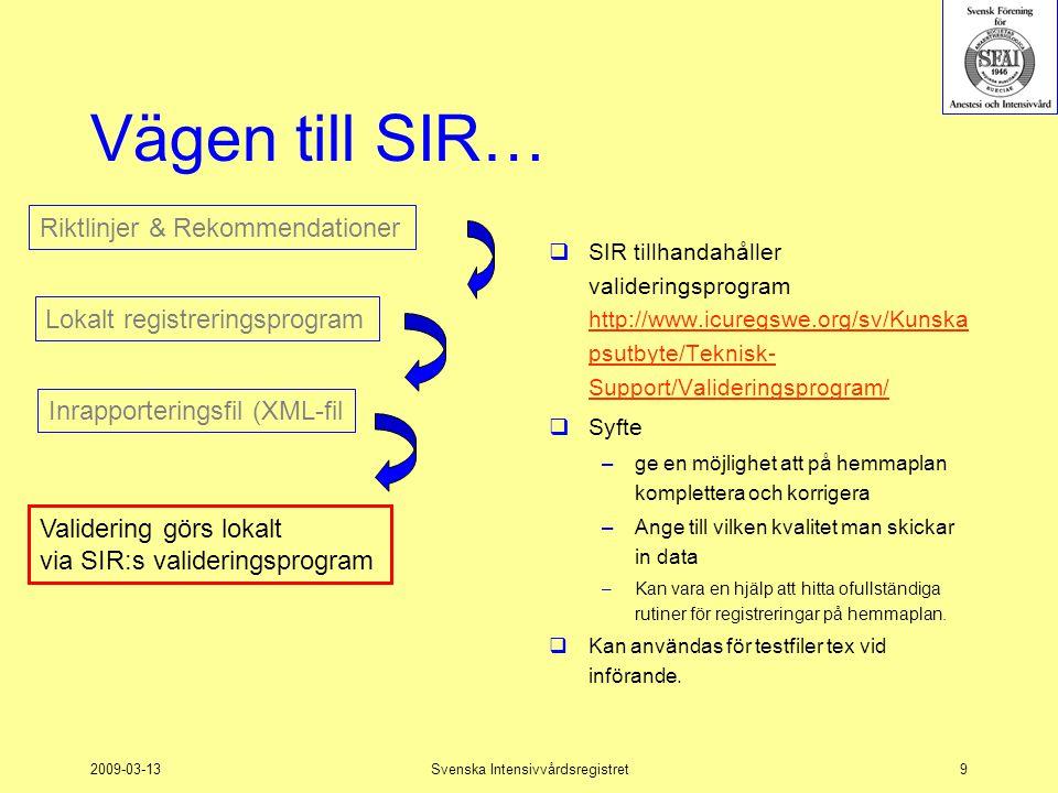2009-03-13Svenska Intensivvårdsregistret20 Arbetsgång - Data till SIR 1.Registrera i lokalt system 2.Skapa XML-fil från lokala systemet 3.Validera med SIR:s valideringsprogram  Gör ev justeringar/rättningar i lokalt system  Skapa ny XML-fil  Validera igen 4.Skicka in till SIR